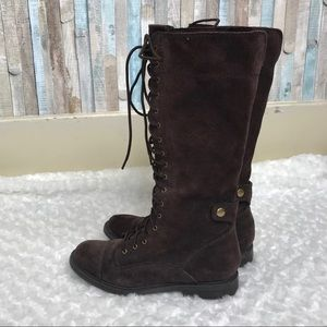 Lucky Brand 7.5 Suede Blossom Lace Up Tall Boots